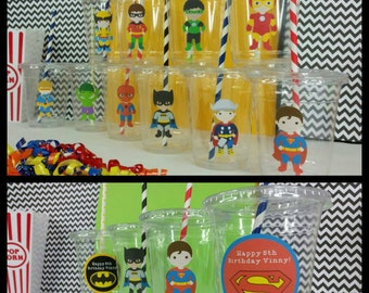 12 Superhero Themed Party Cups with Striped Straws and Lids!, Marvel Hero Plastic Party Cups
