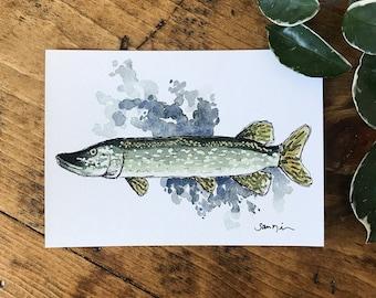 ORIGINAL ARTWORK - Watercolor PRINT - Watercolor Fish - Northern Pike - Watercolor Decor - Watercolor Painting - Artwork - Minnesota Art