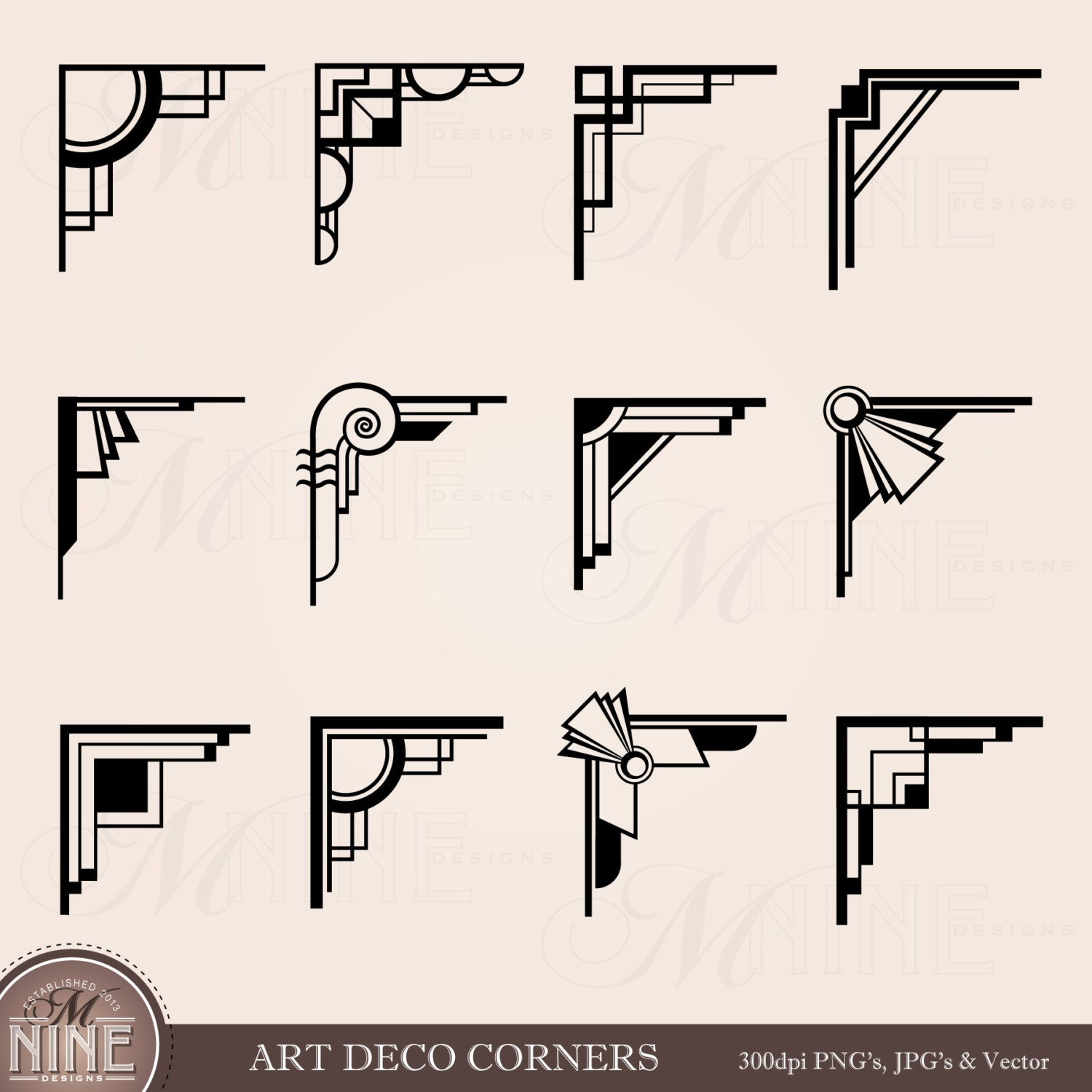 Art Deco Corners Clipart Digital Clip Art Instant Download