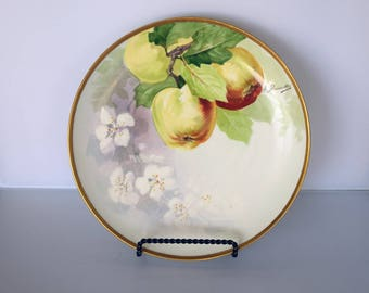 "Coronet Limoges France 8-1/2"" Dessert Plate Hand Painted Apples and Signed A. Bronssillon"