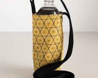 Yellow Water Bottle Sling, Yellow Wheels Water Bottle Holder, Crossbody, Yellow, Black, and Gray Cotton Fabrics, Handmade