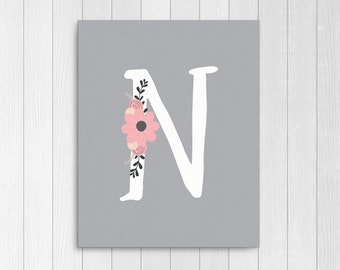 """Girls Floral Monogram, Nursery Letter """"N"""", Pink and Gray Nursery Decor, Personalized Baby Gift, Baby Girl Nursery Instant Download Printable"""