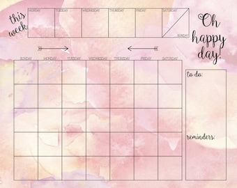 Month Calendar Insert Poster Print 16 x 20 for DIY Dry Erase Monthly Calendar