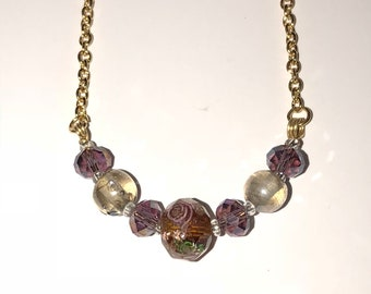 Gold and purple rose necklace