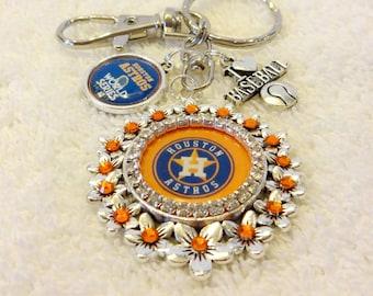 Astros Logo Keychain, Swarovski Rhinestones Houston Baseball Inspired Bling, World Series Charm