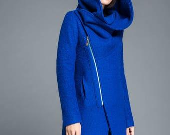 Womens coat, wool coat, blue coat, asymmetrical coat, hoody coat, winter coat, cowl neck coat, plus size coat, winter wool coat C1212