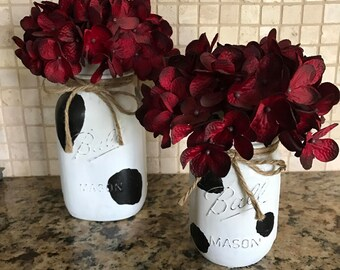 Cow Print Mason jars