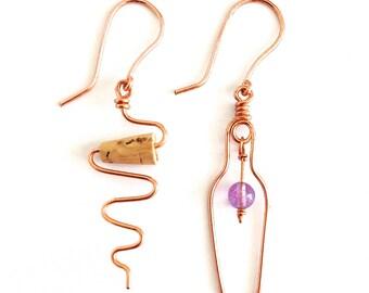 Wine Earrings. Wine Bottle and Cork Screw Copper Earrings. Wine Lovers Earrings with Amethyst and real cork.