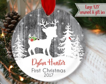 "LARGE 4.25"" Babys First Christmas Ornament Deer Ornament Baby boy Personalized Christmas Ornament, Babys girl ornament, gray mdf wood OR976"