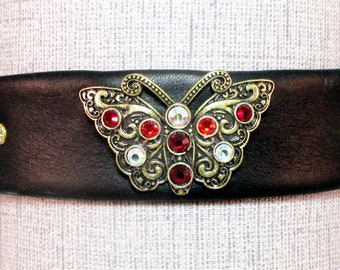 Jeweled Butterfly Leather Choker