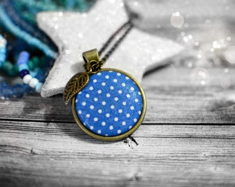 Blue Fabric Button Pendant, Turquoise Polka Dot Button Jewelry, Boho Necklace, Blue Long Pendant Necklace, Leaf Charm Necklace