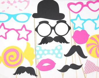 20 PhotoBooth Props, Mustache Party, Lips, Wedding Photo Booth, Props on a Stick CandyLand, Candy Party