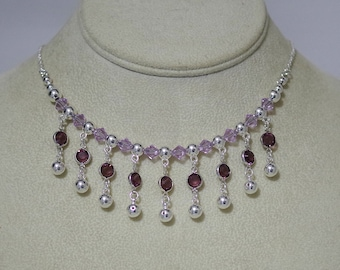 Swarovski Crystal Necklace - Amethyst and Violet - Sterling Silver Chain - 4 Lengths