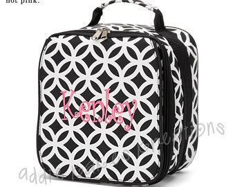Girls Lunchbox - Personalized Lunchbox - Girls Lunchbag - Black and White - Geometric - Lunchbag - Back to School - Monogrammed Lunchbag