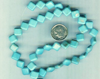 10mm Blue Green Magnesite Puffed Diamond Gemstone Beads  25 pcs