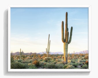 Desert Wall Art, Cactus Print, South Western Decor, Desert Landscape, Large Printable Poster, Digital Download,  #318
