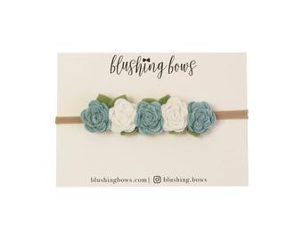Felt Flower Headband, Felt Flower Crown- Dusty Blue and White