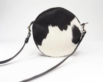 Black & White Round Crossbody Canteen Purse in Cowhide Leather