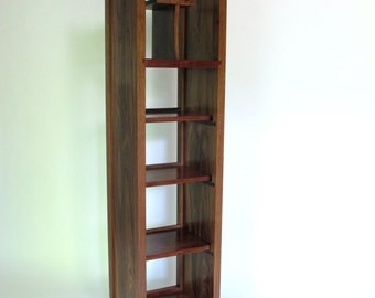 Open Bookcase: Tall Storage Cabinet, Narrow Bookcase, Modern Media Tower   Handmade Wood
