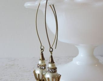 Art Deco Glass Pearl Drops // Lady Mary, Downton Abbey Inspired