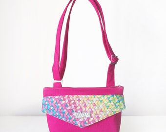 Cross Body Bag / Small Women's Handbag with Front Pocket, Adjustable Strap and Zip Closure in Pink