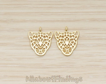 PDT1369-MG // Matte Gold Plated Leopard Mask Pendant, 2 Pc
