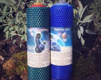 Mother Earth and Father Sky Candle Duo