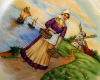 Dutch Girl with Windmill Ceramic Plate