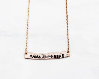 Mama Bear Necklace - Rose Gold Bar Necklace - Custom Stamped Bar Necklace - Mother's Day - Personalized Bar Necklace - Rose Gold Necklace