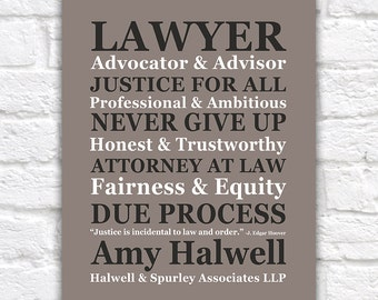 Gift for Lawyer, CUSTOM NAME Attorney at Law Office Sign, Law Partner, Justice, Judge, American Legal System, Barrister, Paralegal   WF235