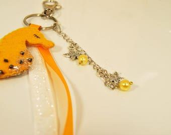 personalized keychain - OWL bag handmade hand-sewn nature