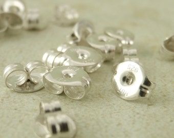 Sterling Silver or Antique Sterling Silver Ear Nuts - Buy 1 Pair, 10 Pairs or 50 Pairs