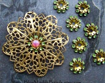 Vintage Swarovski Flowers, Swarovski Crystals, Crystal Flower, Peridot Crystal, Brass Finding, Layering Flower, Rare Swarovski, Bead, Cap, 8