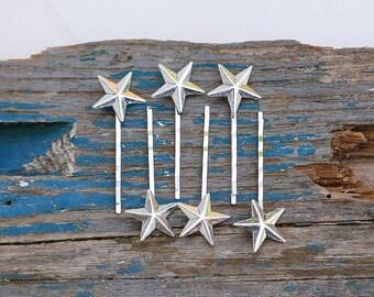 Star Bobby Pins Silver Star Hair Pins Constellation Star Bridal Hair Summer Celestial Sky Wedding Hair Silver Star Jewelry