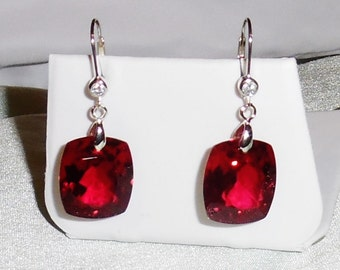 51 cts Natural Cushion cut Red Topaz gemstones, SOLID Sterling Silver Leverback Pierced Earrings