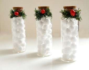 Snowball Ornament - Miniature snowballs, winter wedding favor, winter wedding decor, rustic Christmas, miniature glass bottle, gift under 10