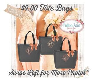 Bridesmaid Tote Bag, Bridal Party Tote Bag, Wedding Tote Bag , Monogrammed Tote Bag,  Embroidered Tote Bag, Zipper Tote Bag