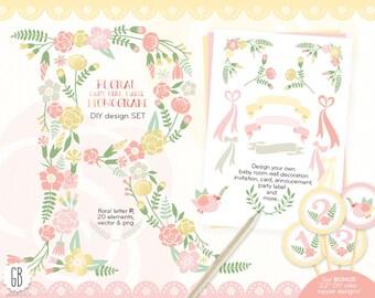 Floral monogram, flower type, baby girl R initial, birthday, clip art, pastel alphabet, vector, flowers, invitation, nursery decor, diy card