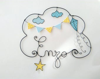 """Wire name customizable cloud """"A kite in the middle of the clouds"""" wall decor for child's room"""