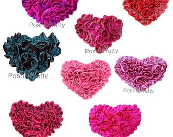 20 PCS Heart Mesh shabby appliques- 2.5 inches- PICK COLORS