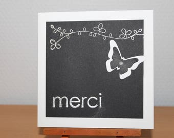 Thank you card black and white with a butterfly