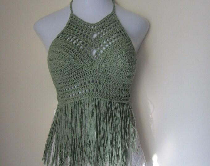 SAGE FRINGE HALTER top, Festival clothing, crochet halter fringe top, bikini cover, beachwear, summer top, gypsy, Boho chic, Cotton