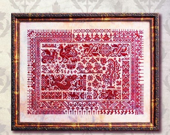 INK CIRCLES Dragons of Sumatra counted cross stitch pattern at thecottageneedle.com monochromatic