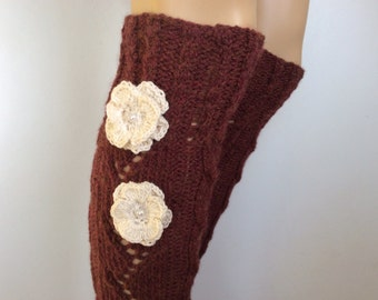 Leg Warmers with crochet flower,Soft knitted LegWarmers,Women boot cuffs, leg warmers Cognac Heather color or Select Color