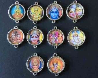 Indian amulet, silicone, support metal money 20mm cabochon pendants