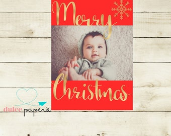 5x7 Red and Gold Foil Holiday Greeting Card