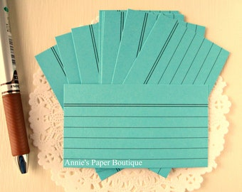 Mini Index Cards - Light Teal {24} - Use w/ Your Planner, Erin Condren, Filofax, Travelers Notebook, Journal, Stationery, Memory Keeping