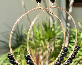 Black Spinel Gemstone Earrings, 14Kt Gold Filled or Sterling Silver, Hand Hammered Wire Wrapped Hoop Earrings, Large Statement Earrings Gift