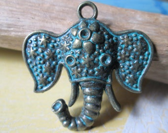 Elephant pendant made of metal * charms * Jewelry pendant * Asian * 38x38x6 mm * Jewelry Crafts