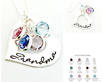 Always in My Heart - Personalized Grandma Necklace - Sterling Silver Heart with Birthstones - Custom Hand Stamped Jewelry - Nana Grandmother